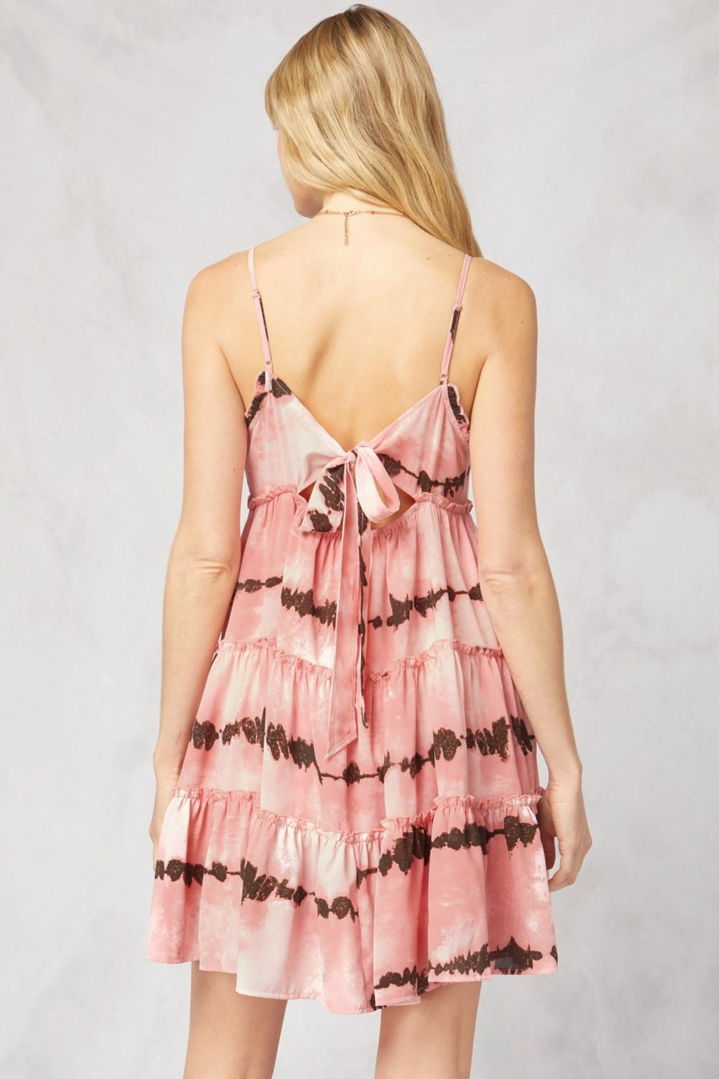 Entro Printed V-Neck Sleeveless Tiered Dress - Side Cropped Image