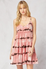Entro Printed V-Neck Sleeveless Tiered Dress - Front cropped