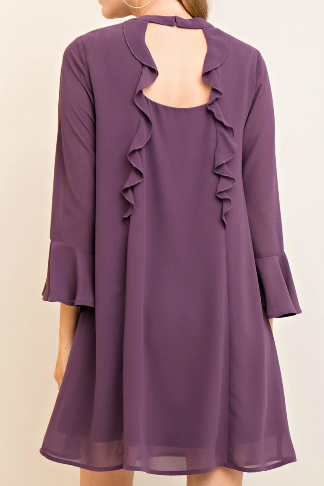 Entro Purple Silky Dress - Front Full Image