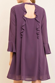 Entro Purple Silky Dress - Front full body