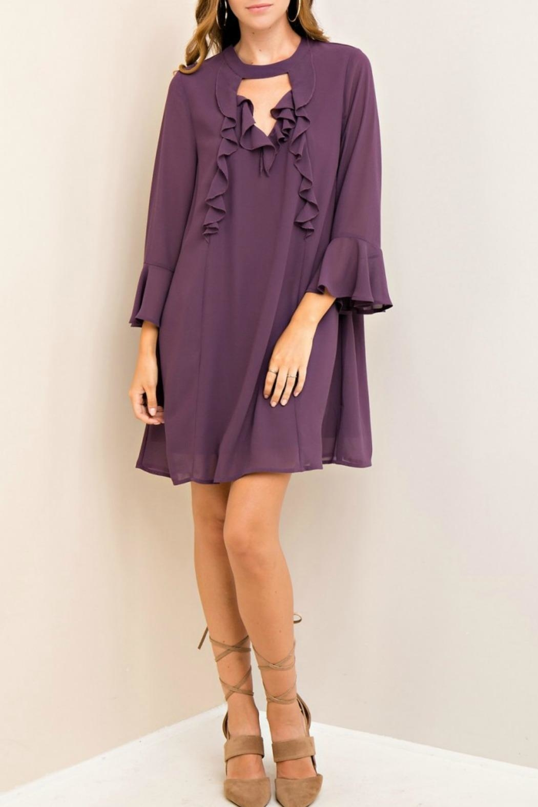Entro Purple Silky Dress - Front Cropped Image