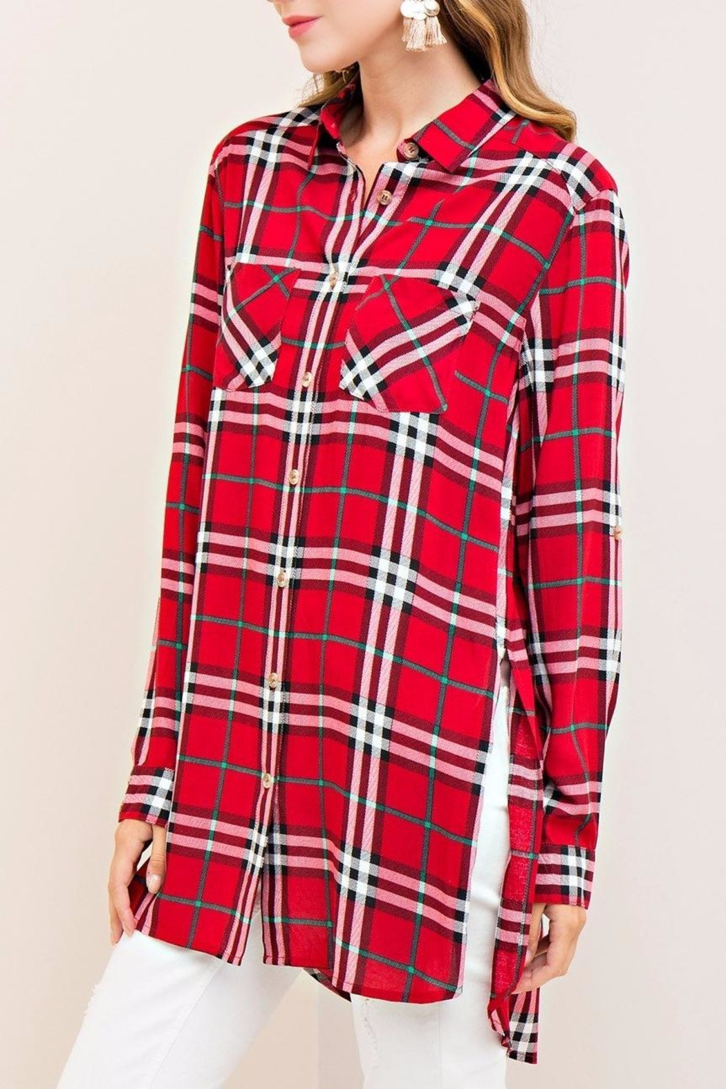 Entro Red Plaid Top - Side Cropped Image