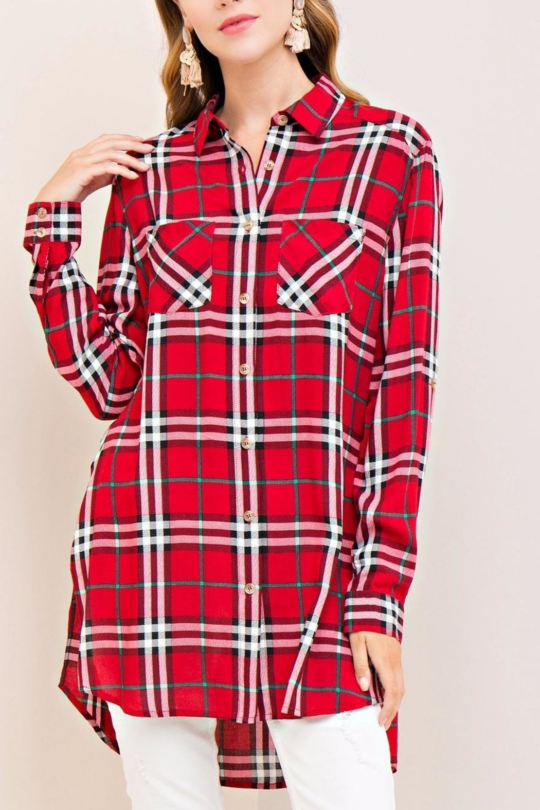 Entro Red Plaid Top - Main Image