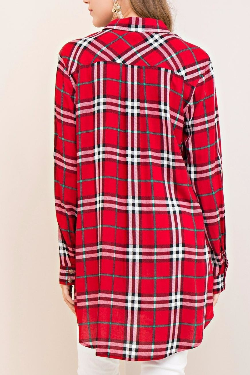 Entro Red Plaid Top - Back Cropped Image