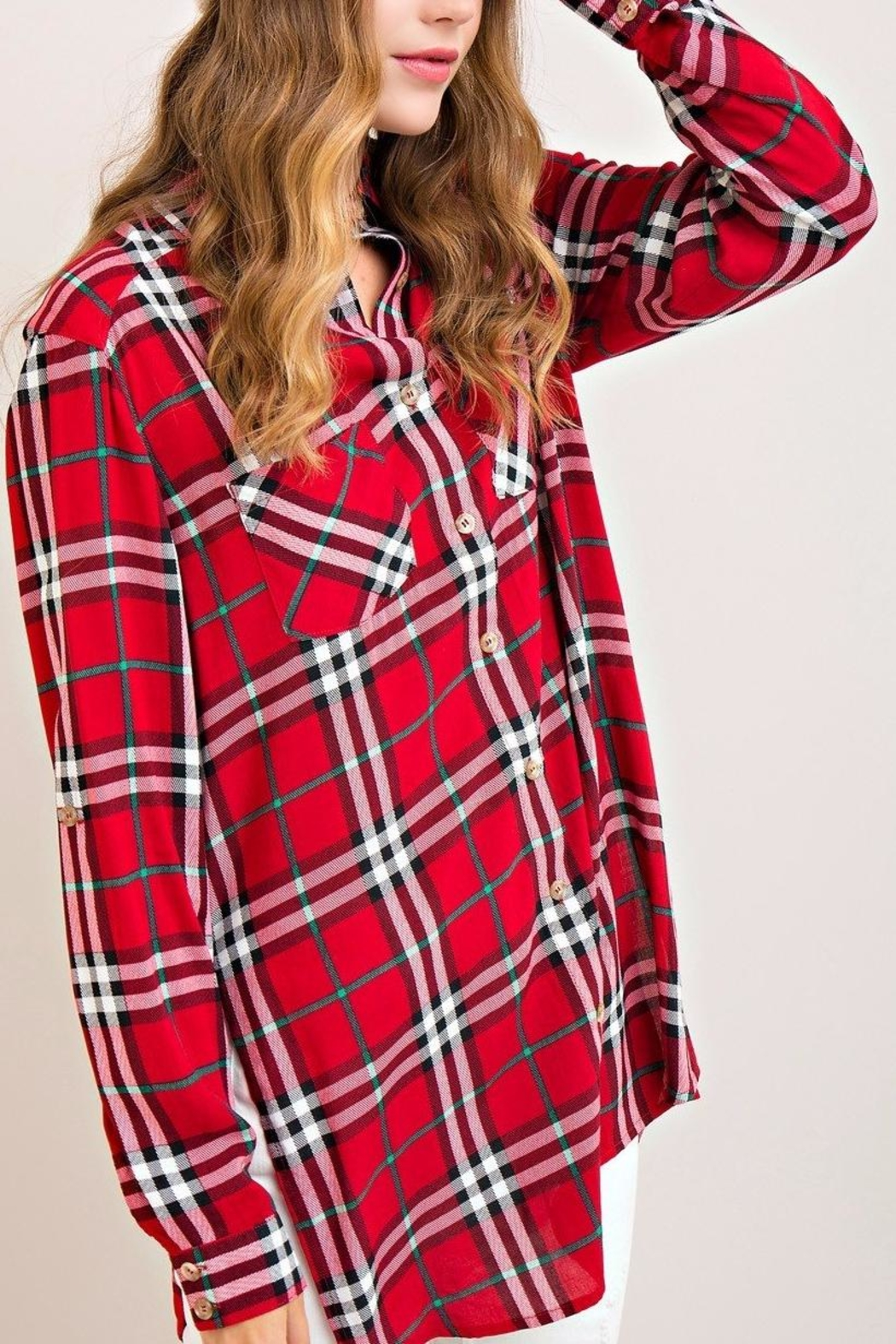 Entro Red Plaid Top - Front Full Image