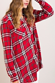 Entro Red Plaid Top - Front full body