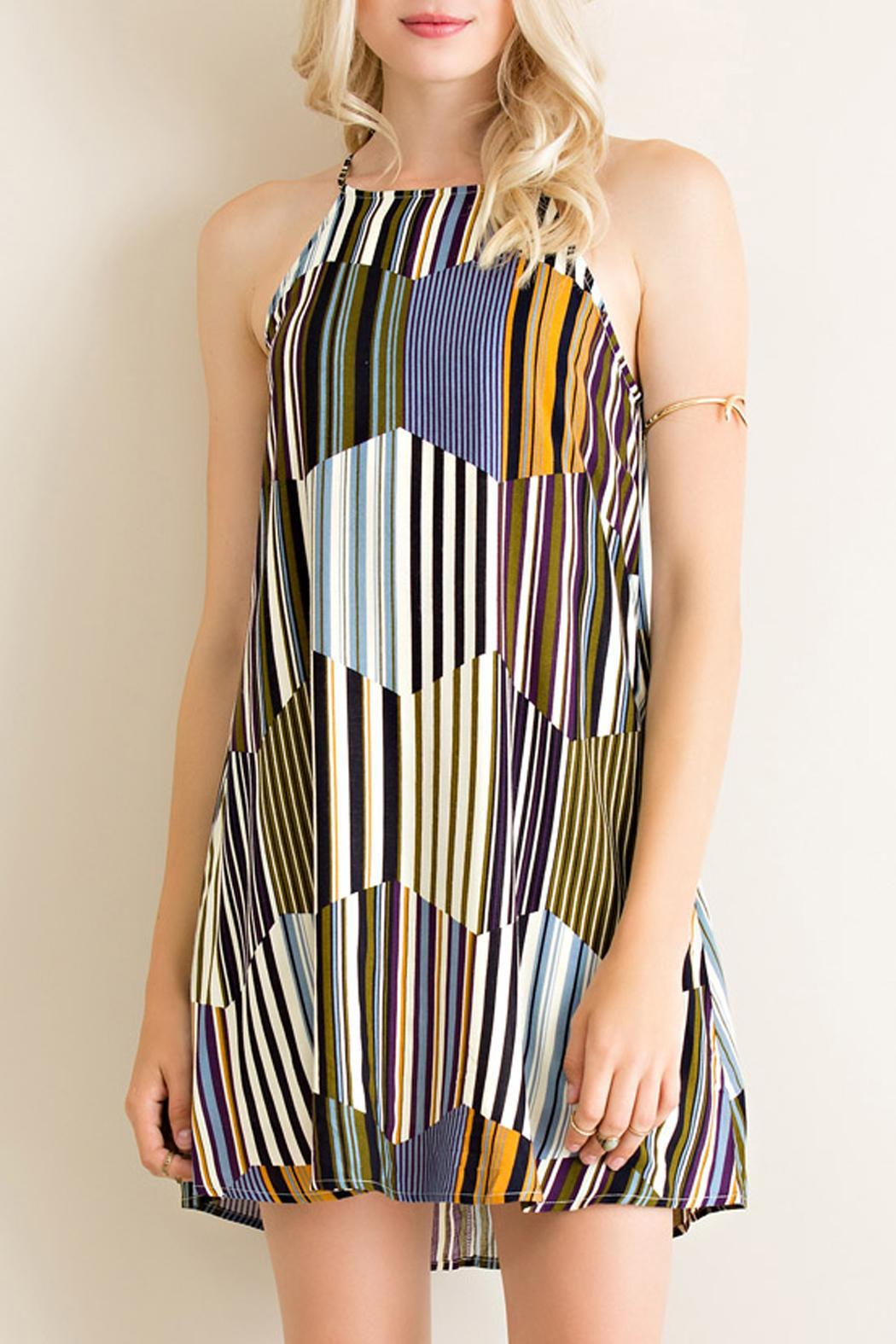 Entro Retro Vibes Dress - Front Cropped Image