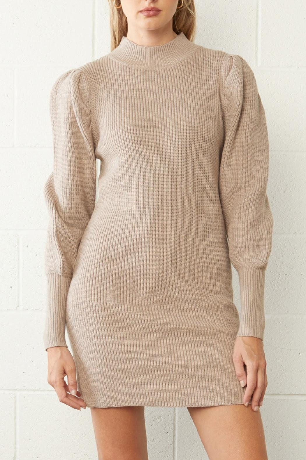 Entro Ribbed Sweater Dress - Front Full Image
