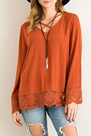 Entro Rust V Neck Blouse - Product Mini Image