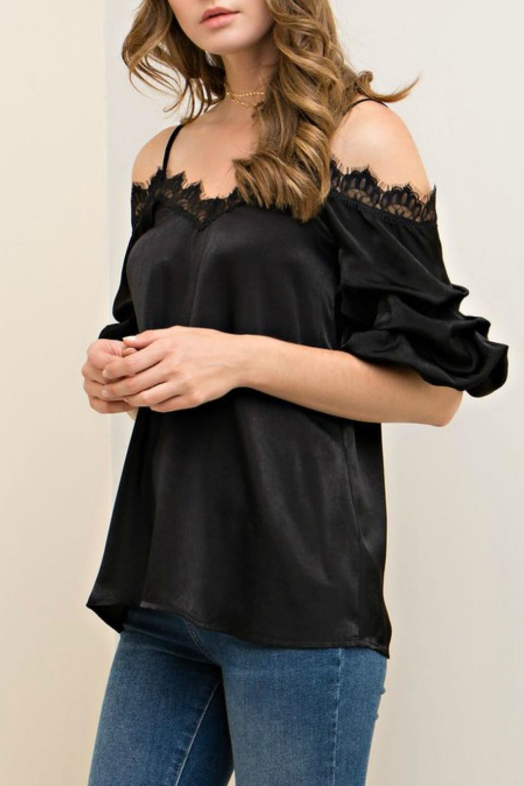 Entro Satin Lace Camisole Top - Side Cropped Image