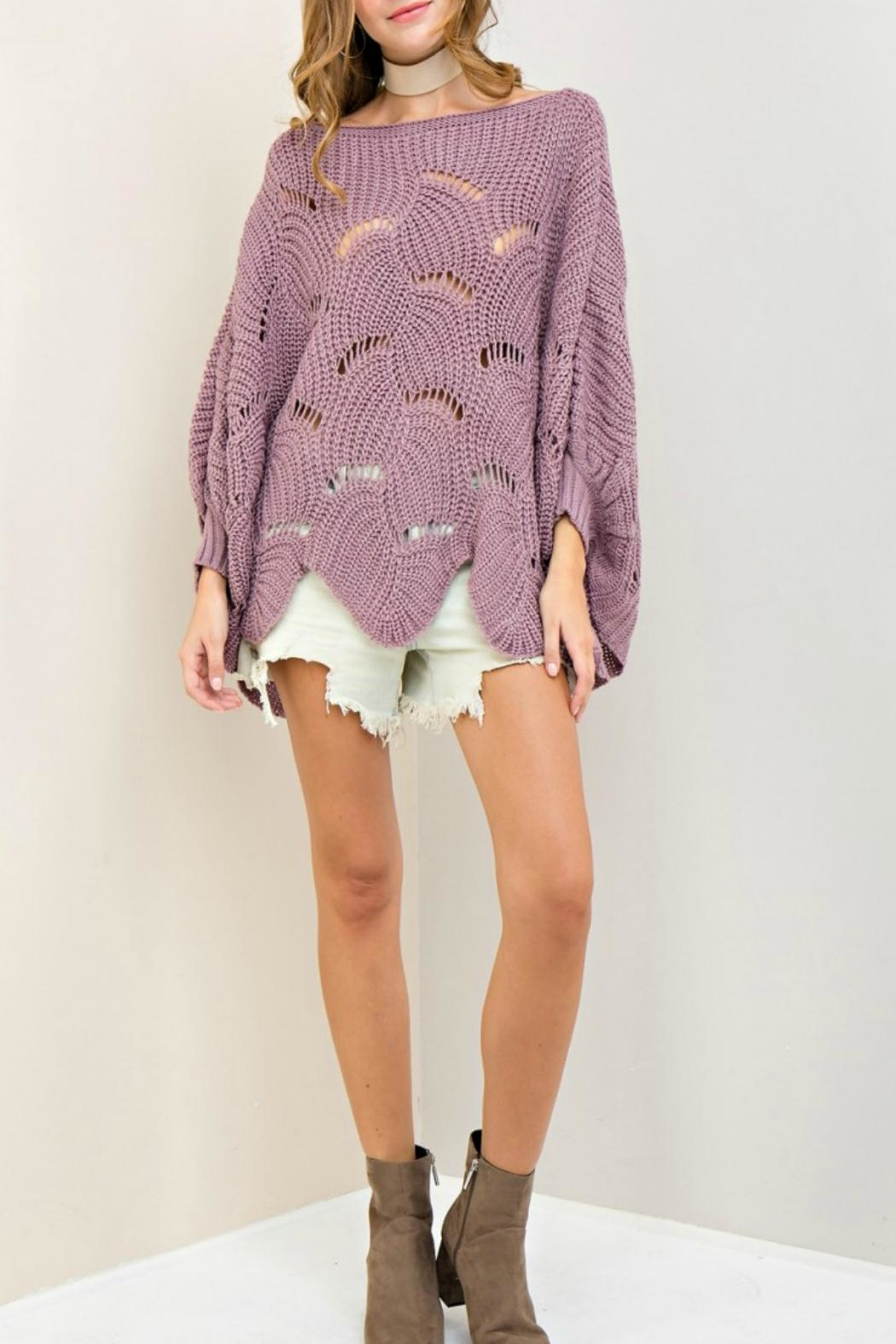Entro Scalloped Edge Sweater - Front Cropped Image