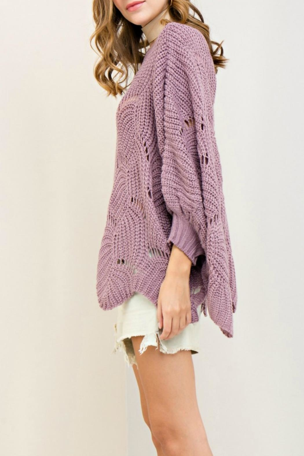Entro Scalloped Edge Sweater - Side Cropped Image