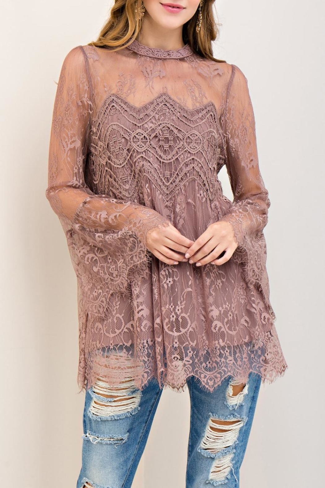 Entro Scalloped Lace Top - Main Image