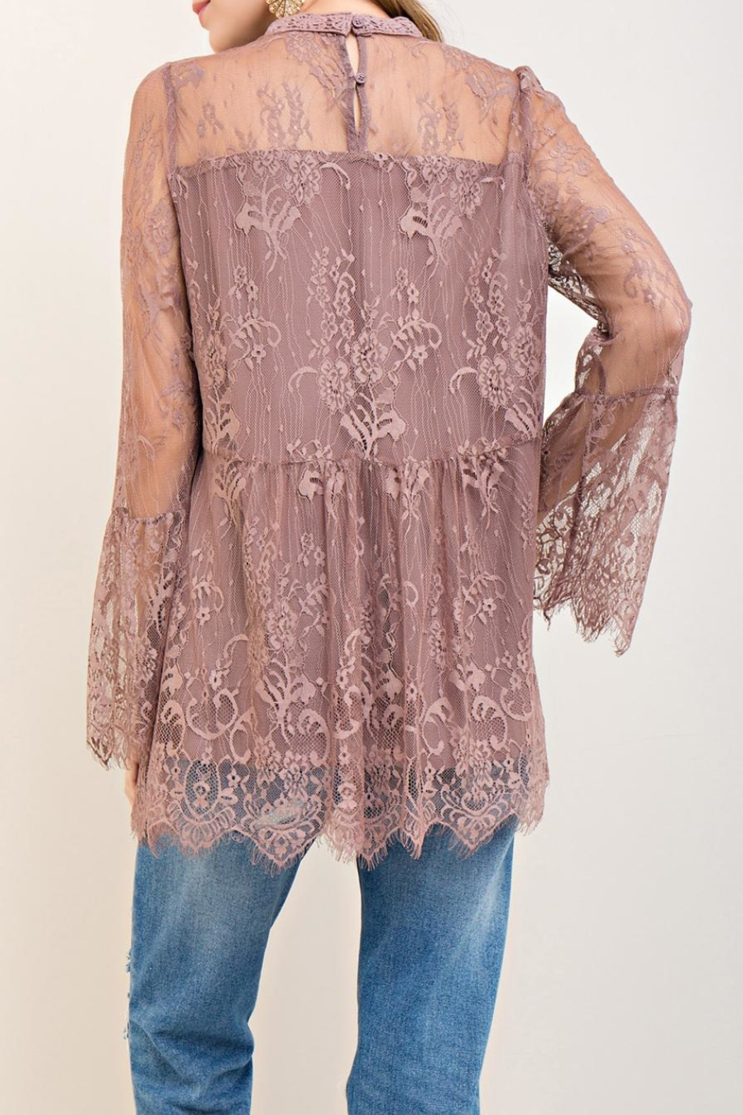 Entro Scalloped Lace Top - Front Full Image