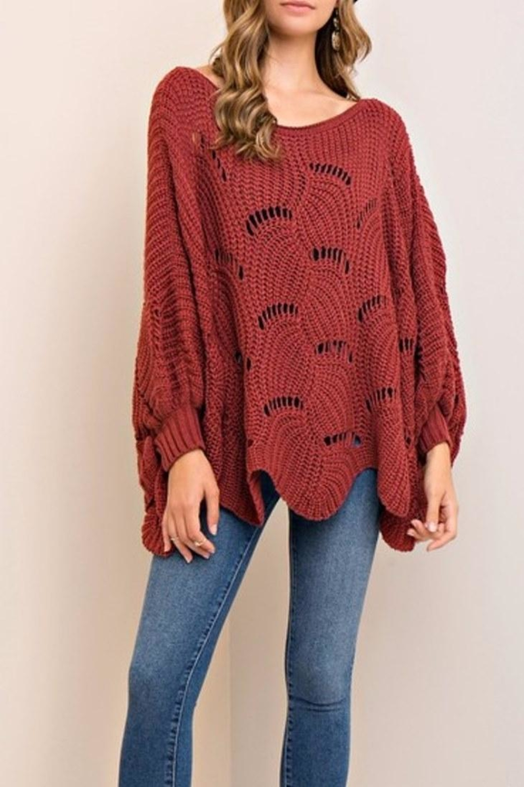 Entro Scalloped Sweater - Front Cropped Image