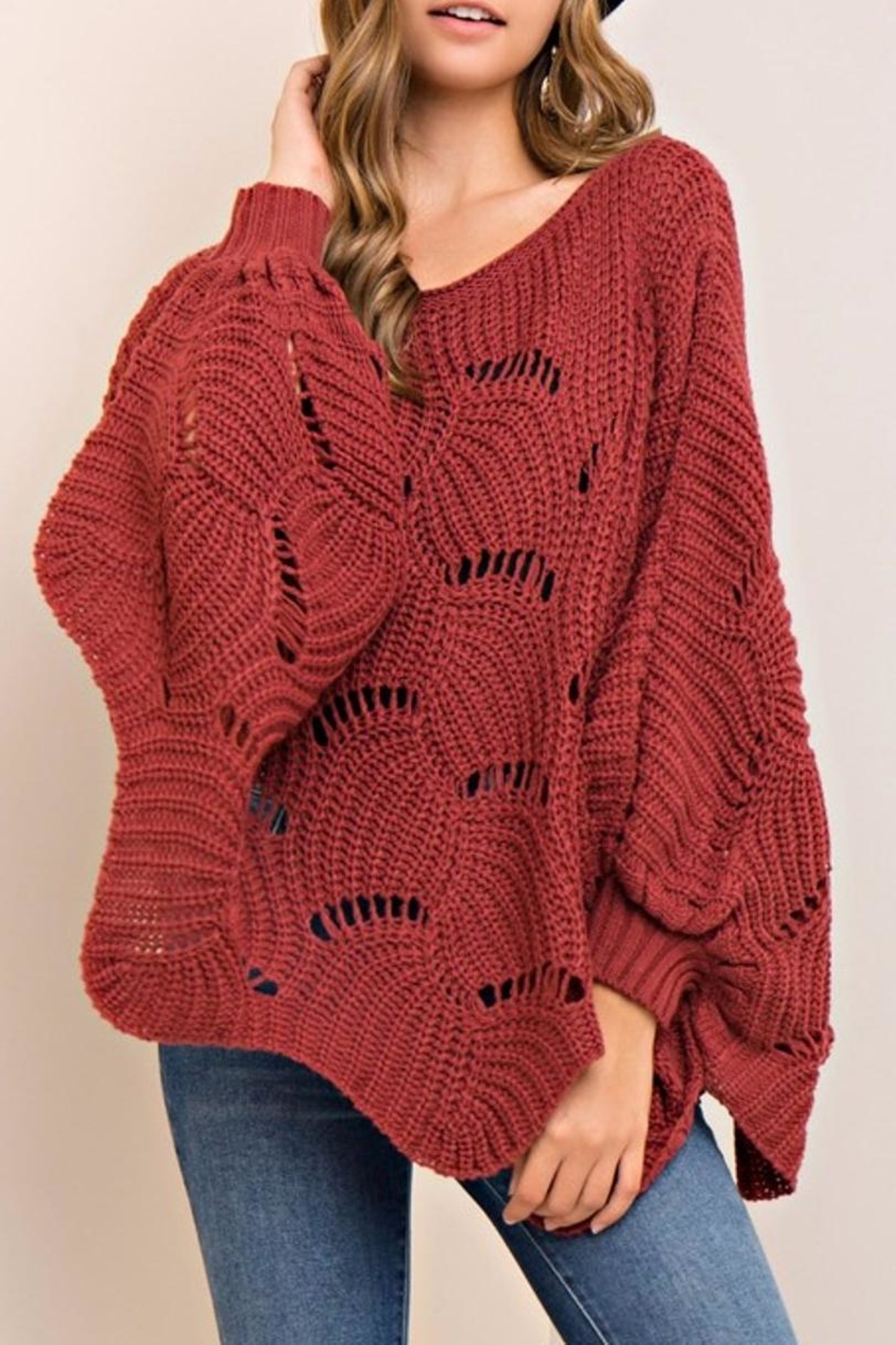 Entro Scalloped Sweater - Side Cropped Image