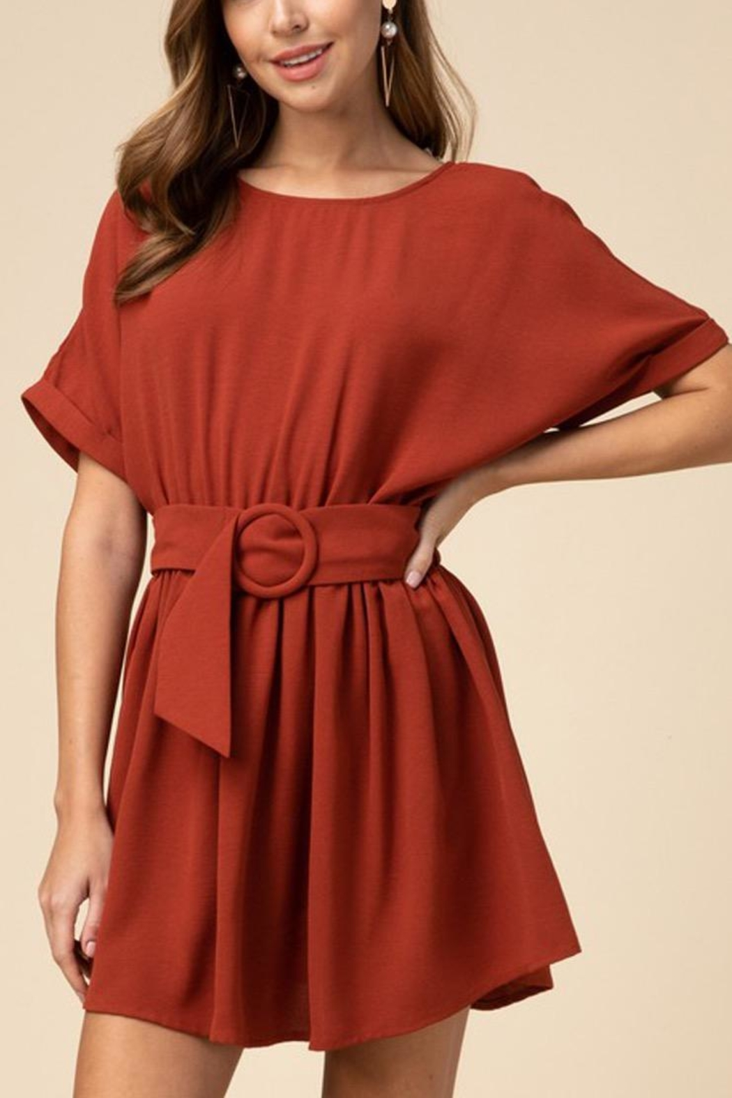 Entro Scoop-Neck Belted Dress - Front Cropped Image