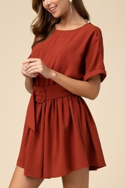 Entro Scoop-Neck Belted Dress - Front full body
