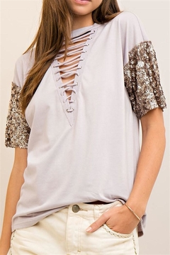 Entro Sequined Grey Top - Product List Image