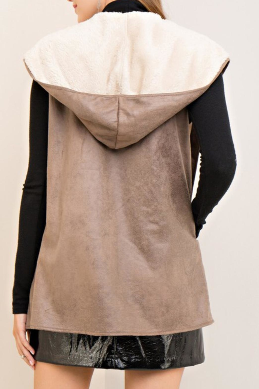 Entro Shearling Hooded Vest - Front Full Image