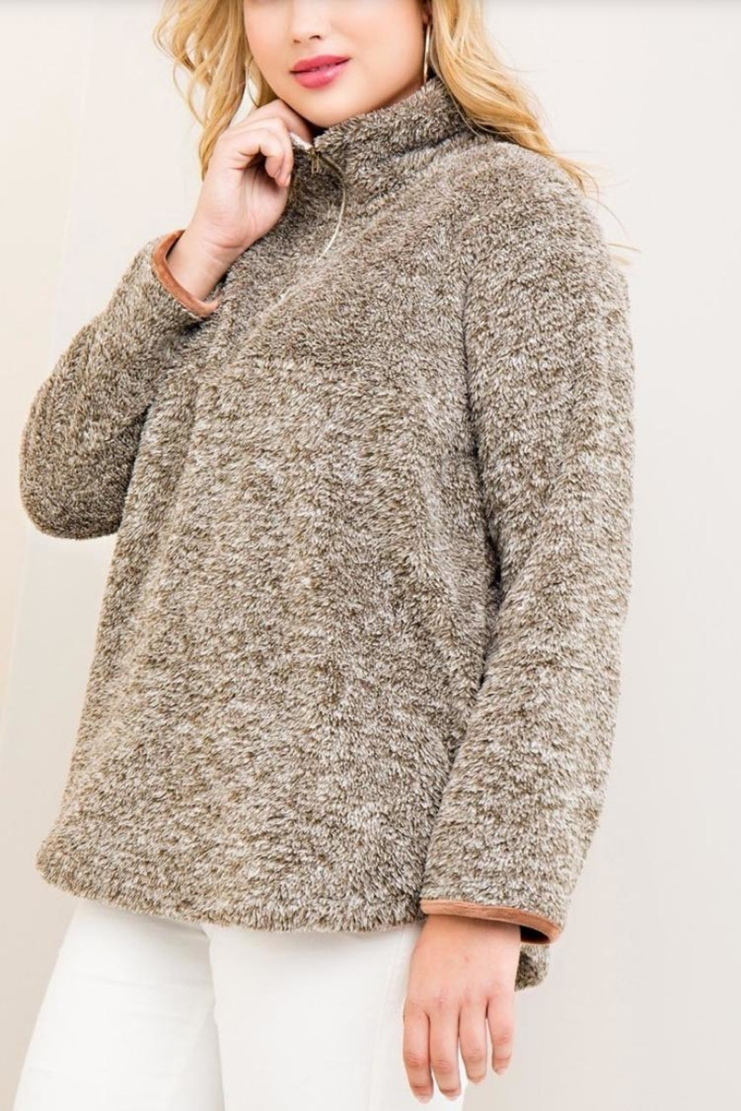 Entro Sherpa Fleece Pullover - Side Cropped Image