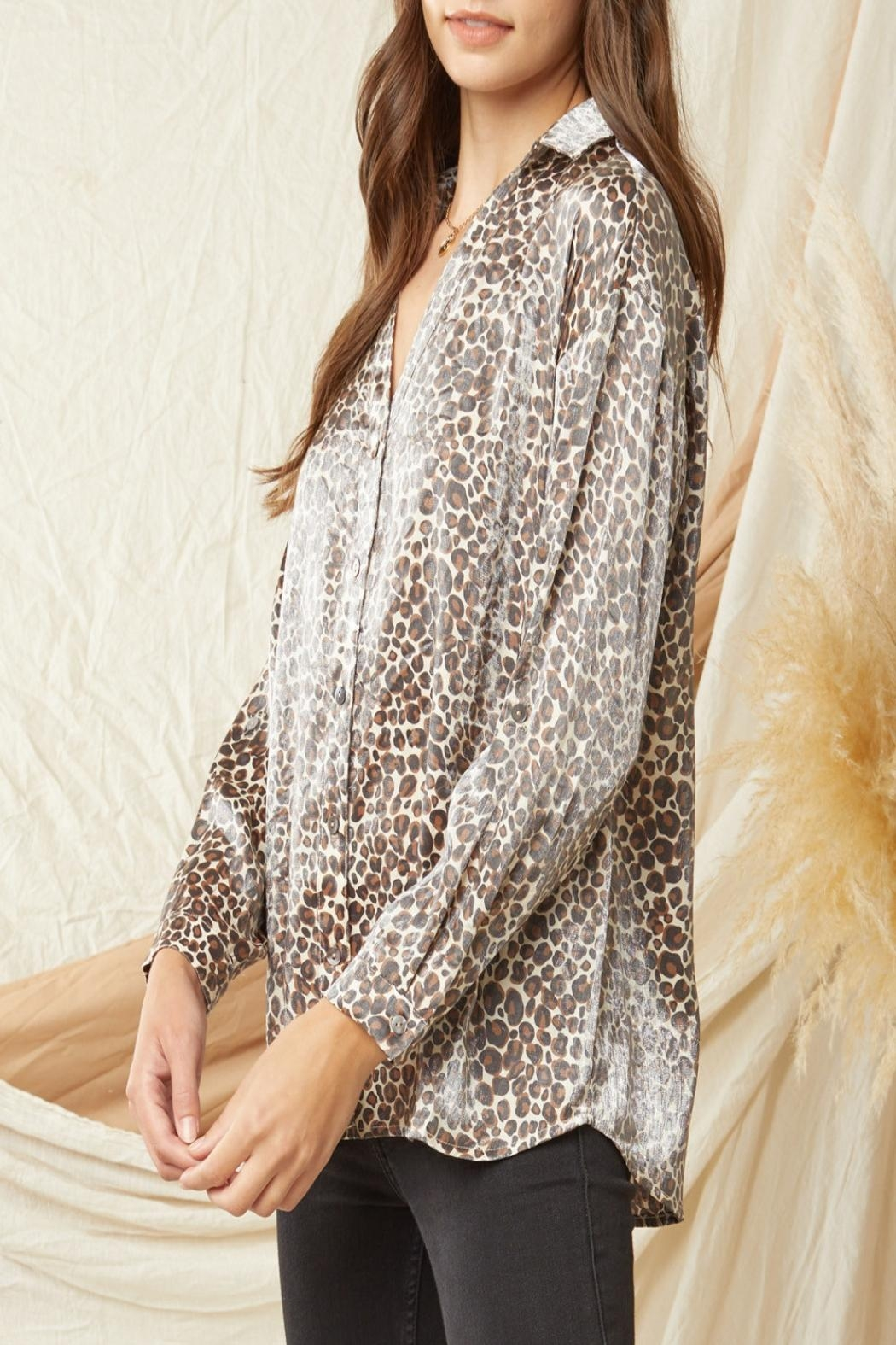Entro Shimmer Leopard-Print Button-Down Top - Side Cropped Image
