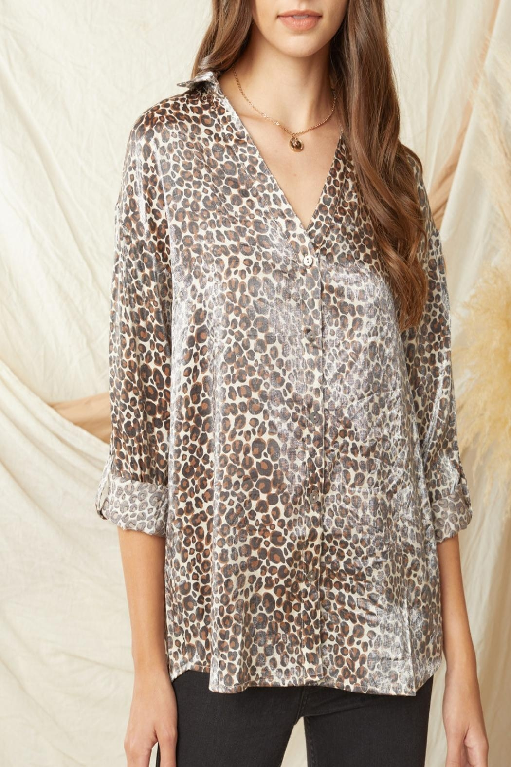 Entro Shimmer Leopard-Print Button-Down Top - Back Cropped Image