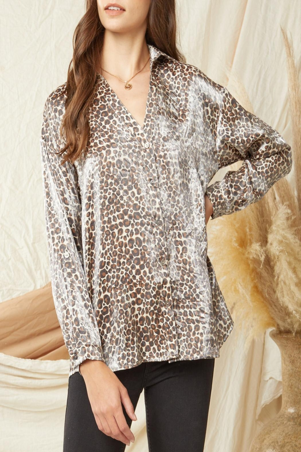 Entro Shimmer Leopard-Print Button-Down Top - Main Image