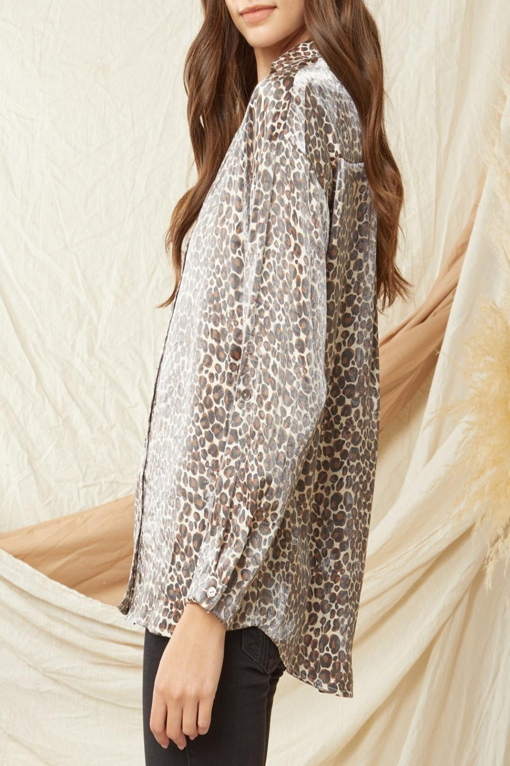 Entro Shimmer Leopard-Print Button-Down Top - Front Full Image