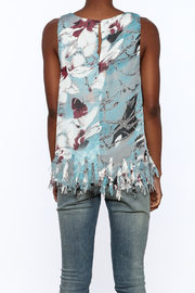 Entro Blue Floral Sleeveless Top - Back cropped