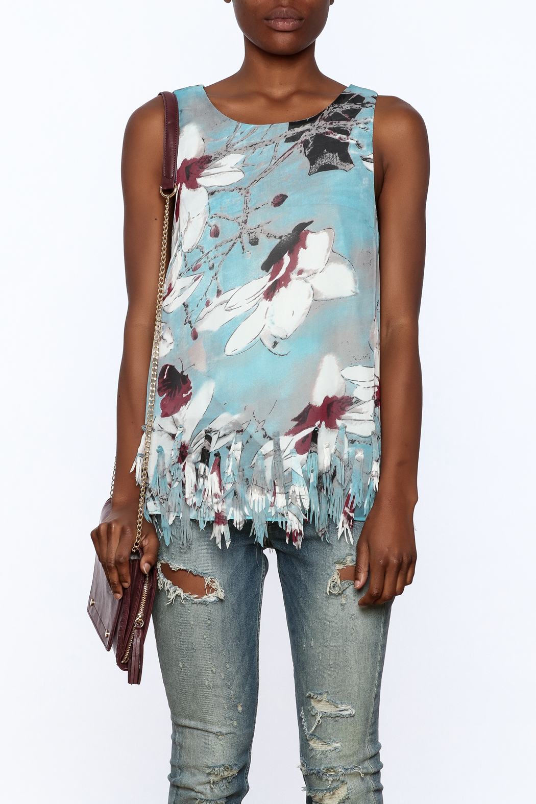 Entro Blue Floral Sleeveless Top - Side Cropped Image