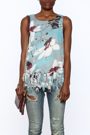 Entro Blue Floral Sleeveless Top - Side cropped