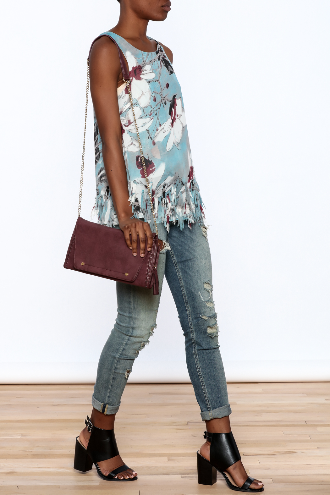 Entro Blue Floral Sleeveless Top - Front Full Image
