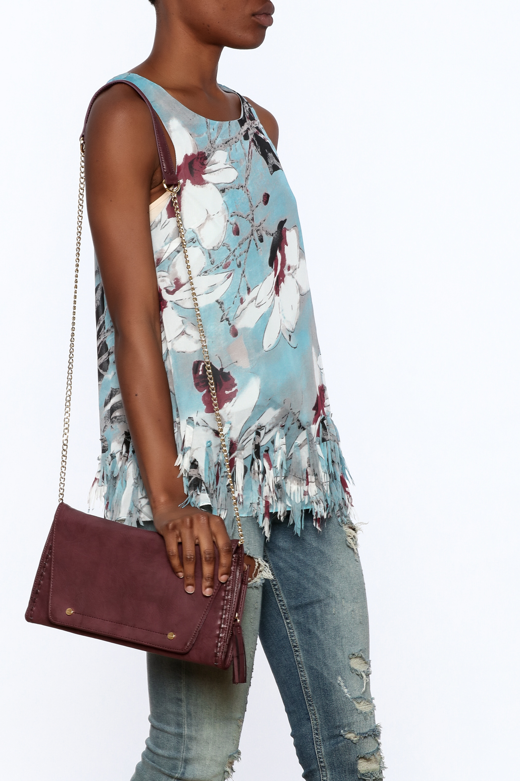 Entro Blue Floral Sleeveless Top - Front Cropped Image