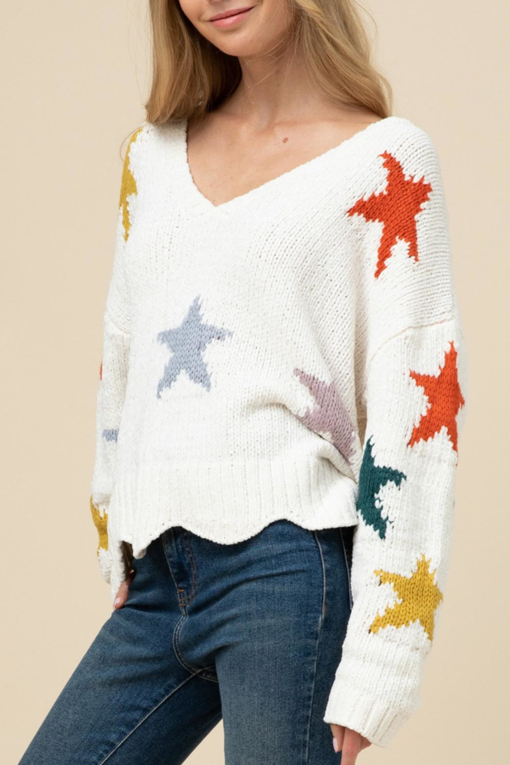 Entro Soft Star Sweater - Side Cropped Image