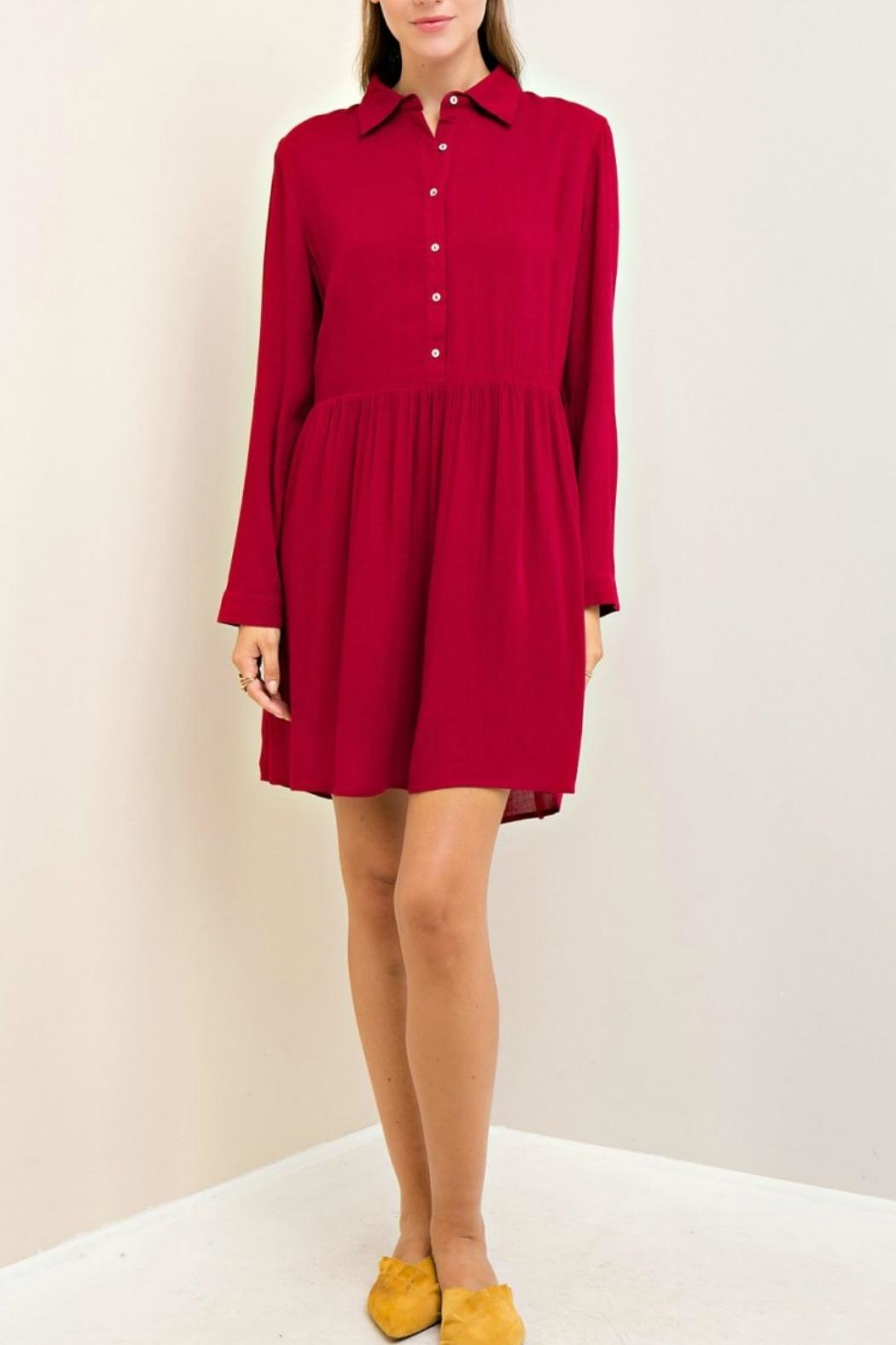 Entro Solid A Line Dress - Main Image