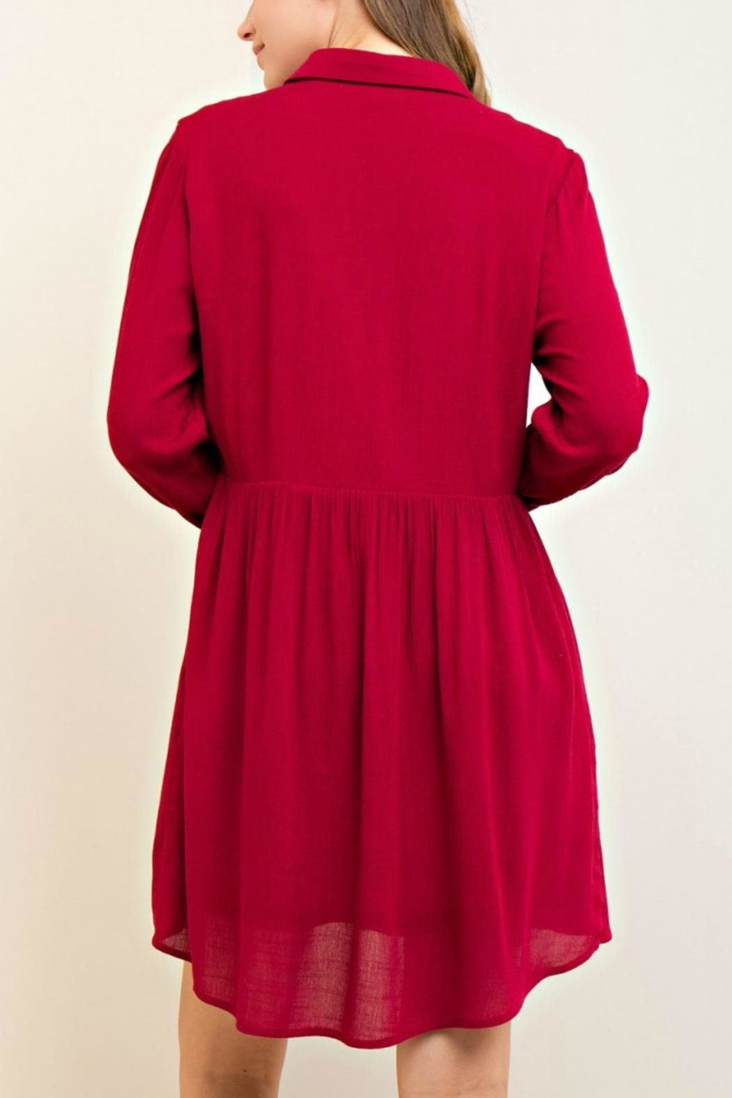 Entro Solid A Line Dress - Side Cropped Image