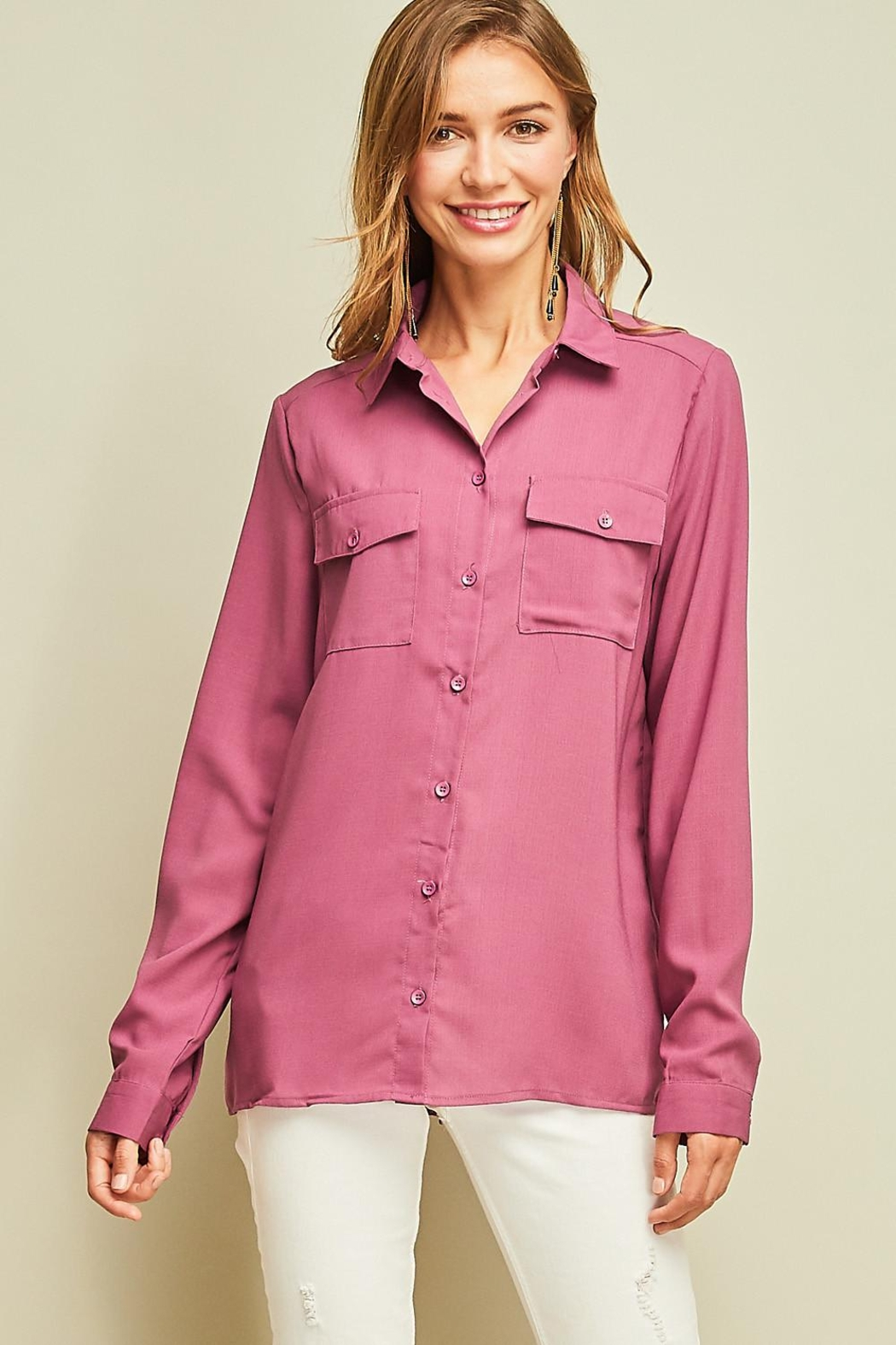 Entro Solid Button Down Shirt Back Lace Detail - Front Cropped Image