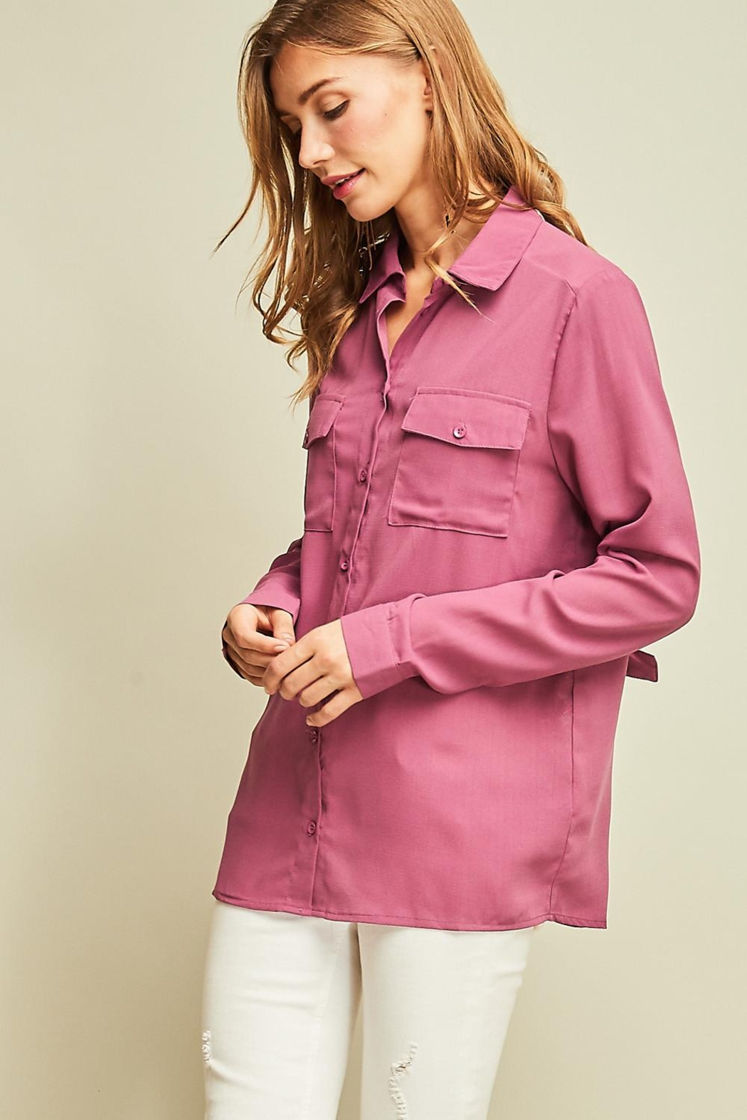 Entro Solid Button Down Shirt Back Lace Detail - Front Full Image