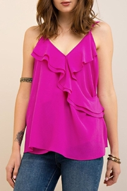 Entro Solid Crinkled V Neck Top - Product Mini Image