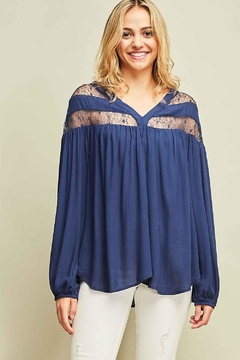 Entro Solid Long Sleeve Lace Details - Product List Image