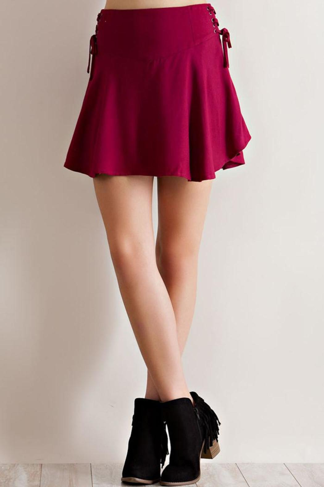 Entro Solid Ruffle Skirt - Side Cropped Image