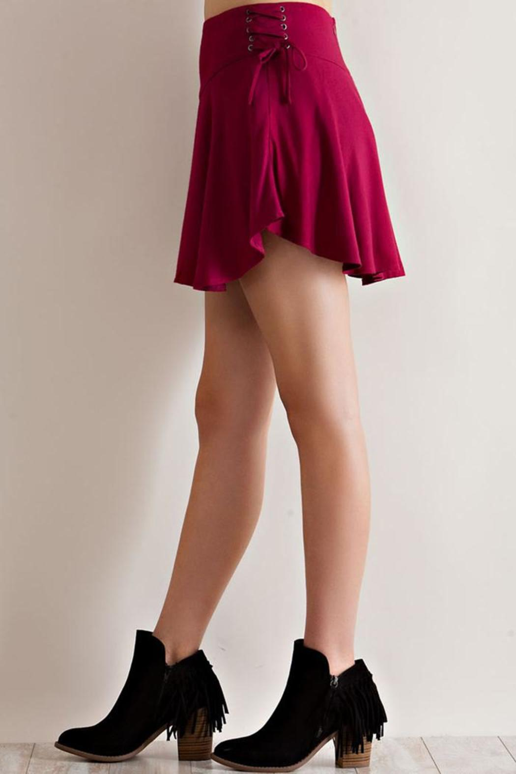 Entro Solid Ruffle Skirt - Front Cropped Image