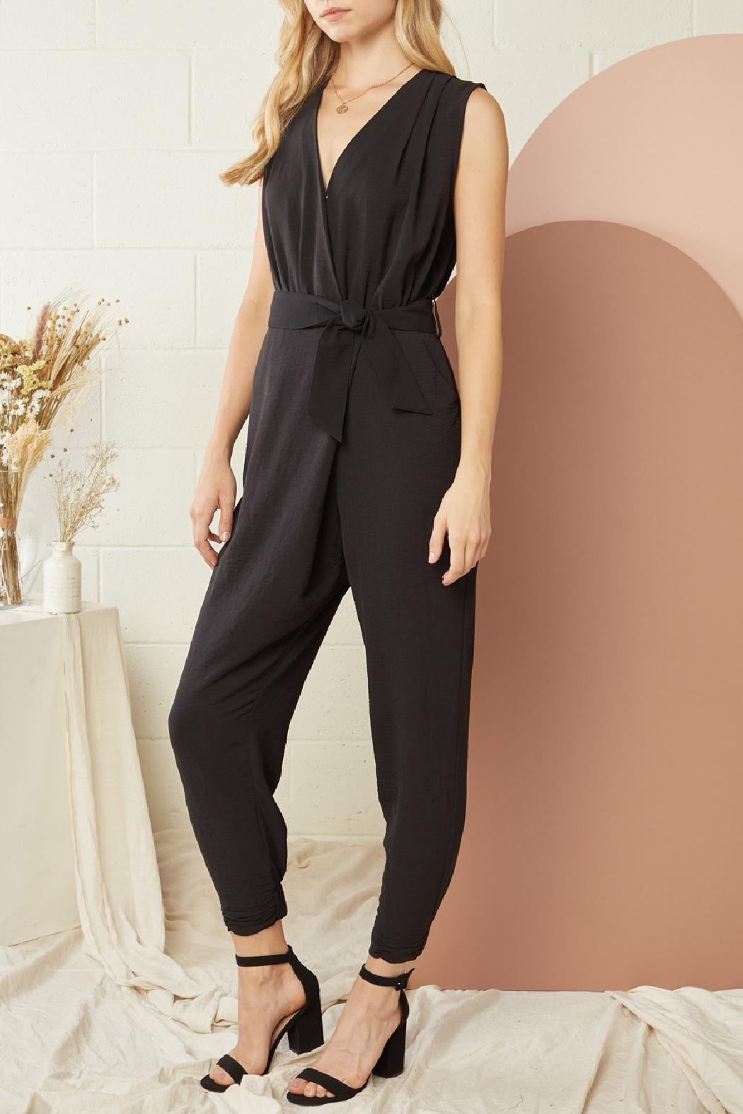 Entro Solid Sleeveless Jumpsuit - Front Full Image