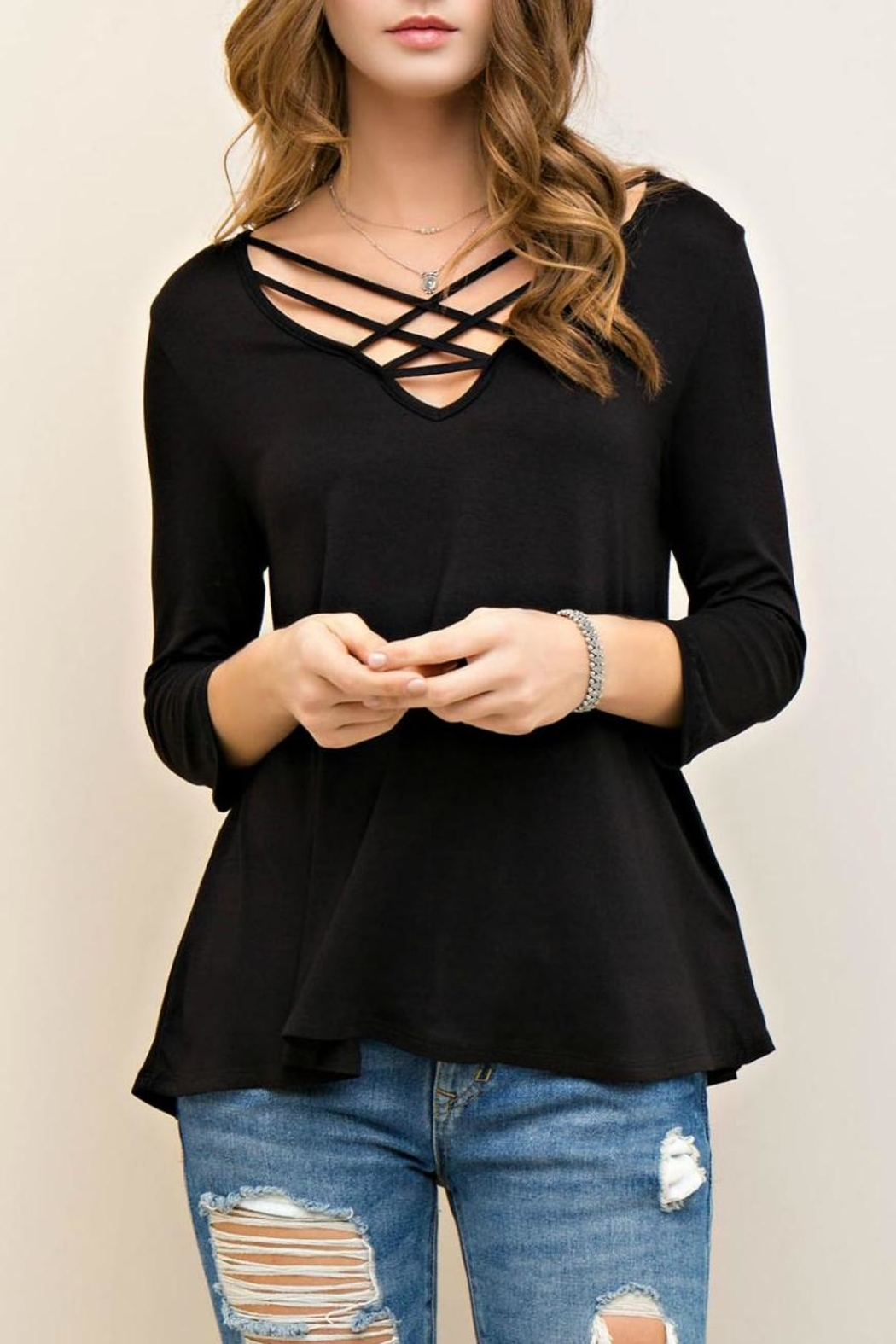Entro Solid Viscose Top - Front Cropped Image