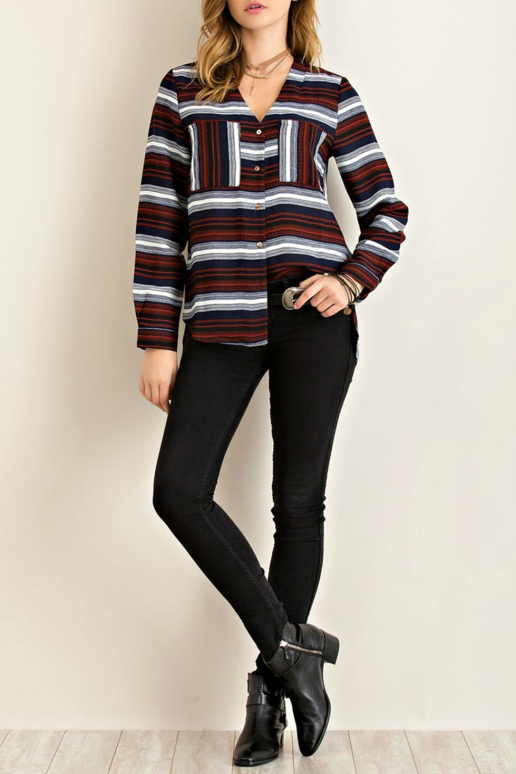 Entro Stripe Button Down Top - Side Cropped Image
