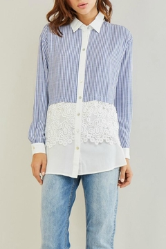 Shoptiques Product: Stripe Crochet Shirt