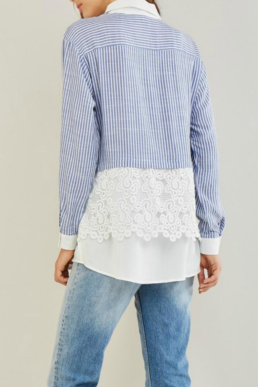 Entro Stripe Crochet Shirt - Front Full Image