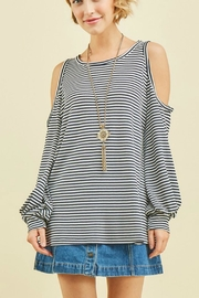 Entro Striped Cold-Shoulder Top - Product Mini Image