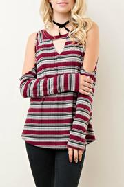 Entro Striped Open Shoulder Top - Front cropped